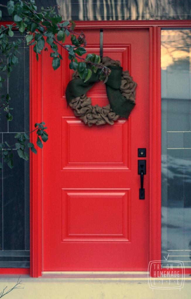 Burlap Wreath & Red Door