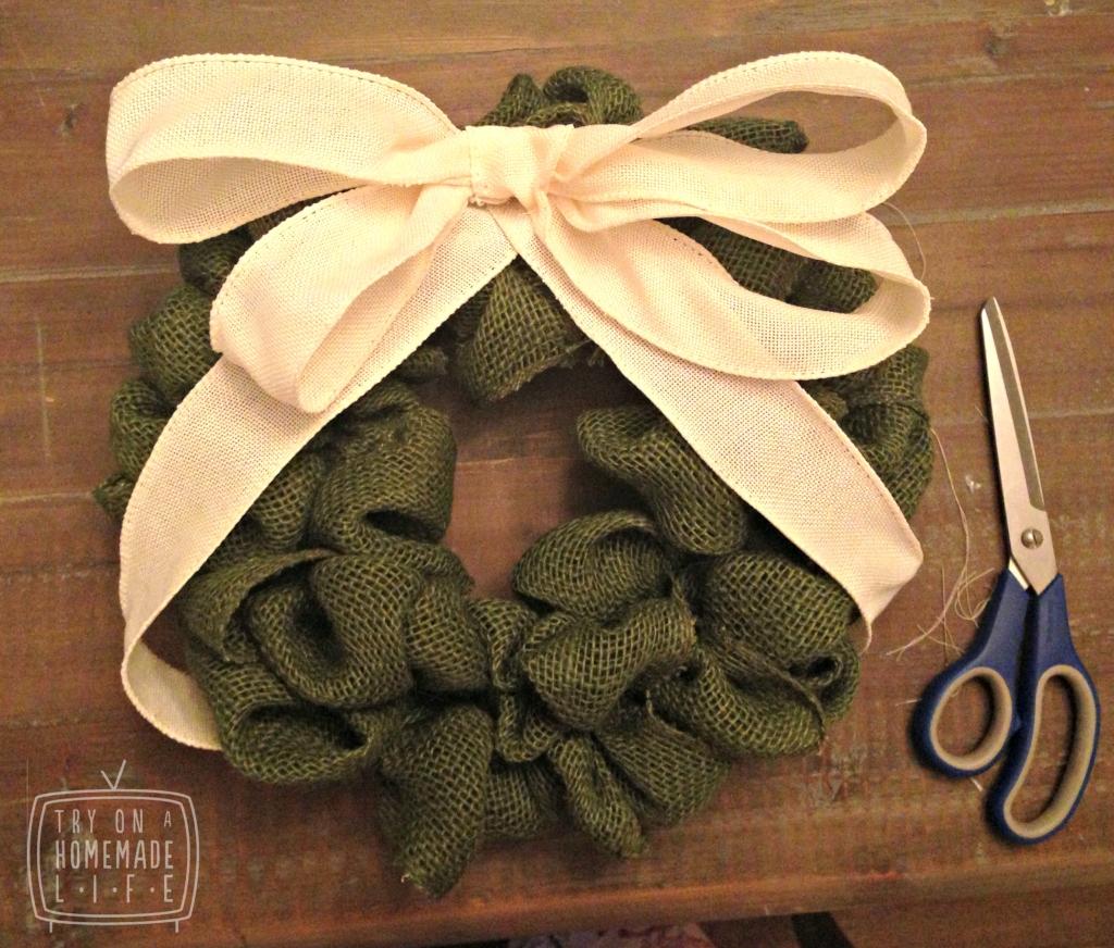 Small Green Burlap Wreath