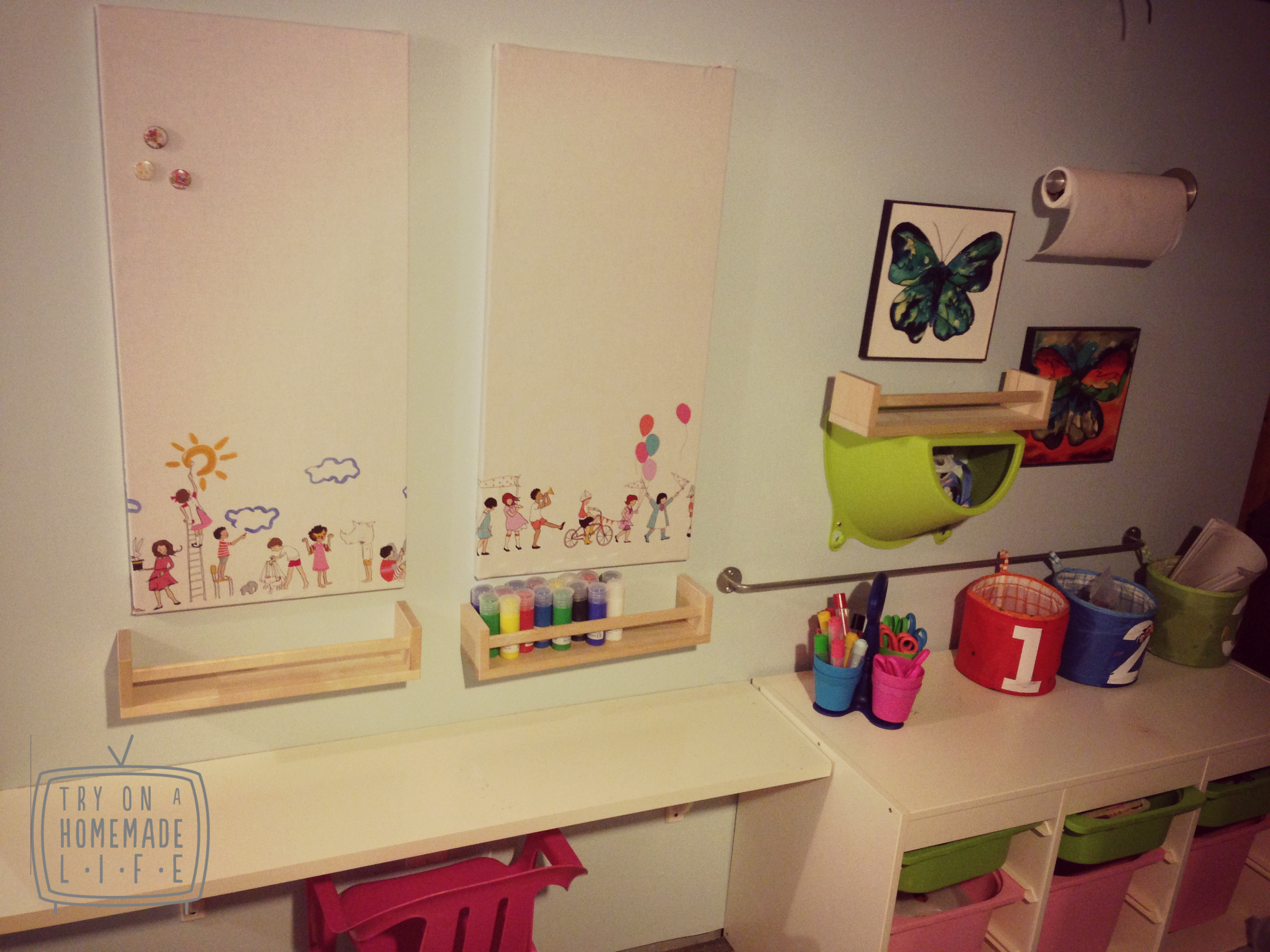 Magnetic craft board - Kids Craft Area The Revamped Spontan Magnet Board Is Now Covered With Artwork